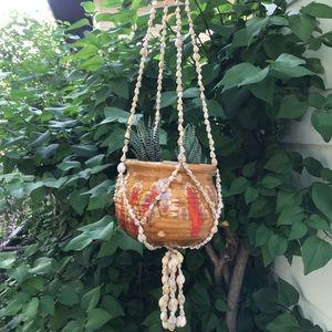 Vintage bohemian seashell plant hanger